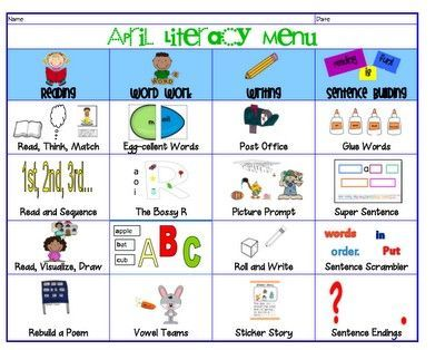Wild image throughout printable literacy centers first grade