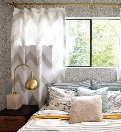 Chevron curtains gray yellow amazing lamp for the bedroom
