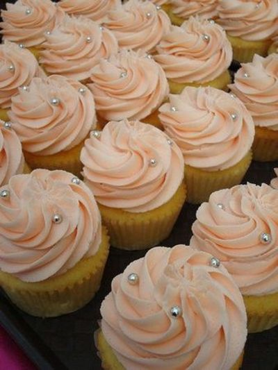 Peach Colored Cupcakes W Silver Pearls Wedding Cakes