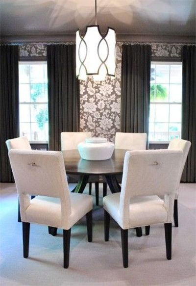 dining room with round table .. like the idea of a round table if your dining room is large
