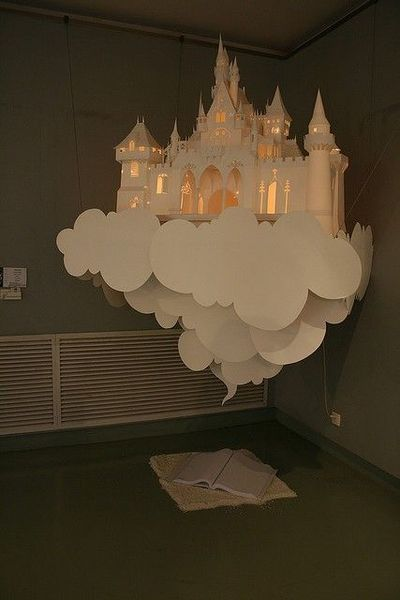 Lit paper castle in the clouds party decorations juxtapost for How to make a paper cloud