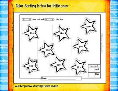 sight word coloring - by Kindergarten Crayons