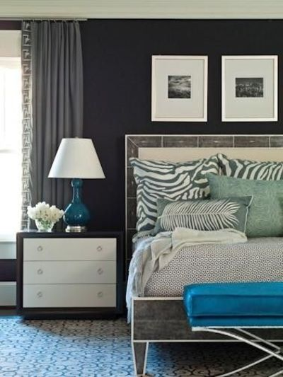 Navy, White, And Turquoise Room / For The Bedroom