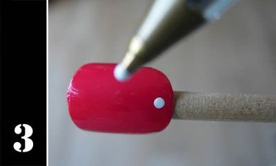 Easy way to polka dot nails without buying special pens....just use ballpoint pen dipped in polish color.