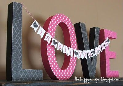 hobby lobby cardboard letters with scrapbook paper