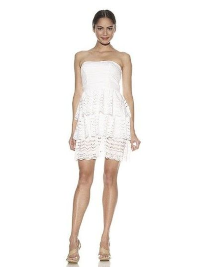 Cynthia Steffe Vanessa Strapless Btier Dress with Ruffle Bottom.
