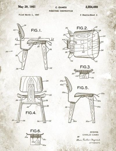 Chair Design Drawings Eames Dcw Chair Patent Drawing