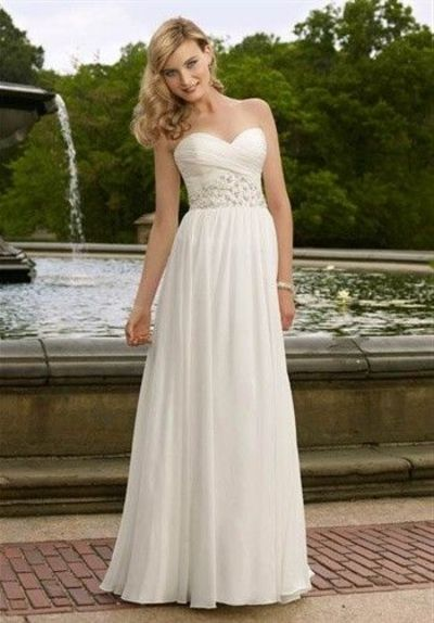 Silhouette: Sheath Neckline: Strapless, Sweetheart Waist: Empire Gown Length: Floor Train Style: Attached Train Length: Court Fabric: Chiffon Embellishments: Beading Color: White/Silver or Ivory/Silver