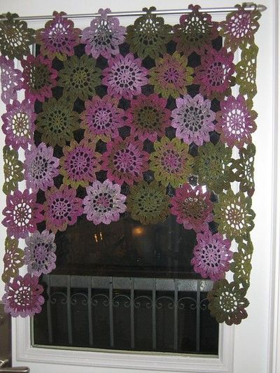Free Crochet Pattern Flower Curtain : Japanese flower scarf motif for a curtain:) / crochet ...