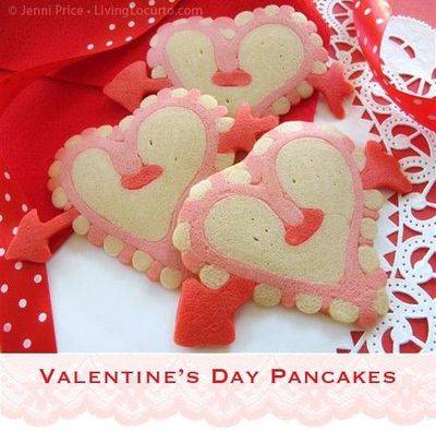 Valentine's Day Heart pancakes! Comes with Free Printable tutorial.