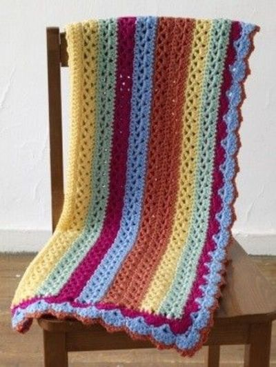 bright stripes baby afghan on Lion Brand website for pattern