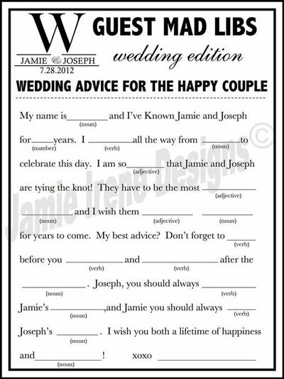 picture relating to Printable Wedding Mad Libs known as Printable Marriage Ridiculous Lib A Enjoyment Visitor Ebook via WeddingsByJami