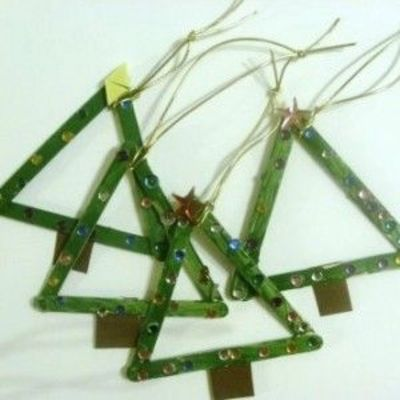 Popsicle stick Christmas tree ornament / Preschool items - Juxtapost