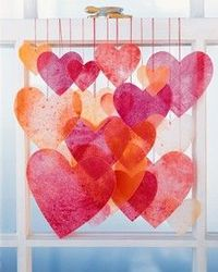 crayon and wax paper hearts