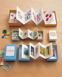 Treasure boxes: this is neat Accordion-fold a strip of paper, and glue the first and last pages to the inside of a box's lid and bottom. Keep some pages empty so the collection can grow