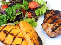 Bourbon Grilled Chicken: Delicious chicken marinated in bourbon, soy and other tasty ingredients....grilled with sweet potato...[read more at Food Frenzy]