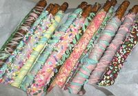 Easter Chocolate dipped Pretzel Rods