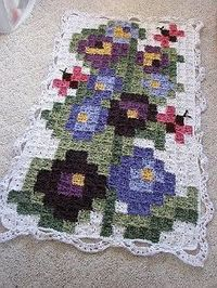 Flower Square to Square Afghan pattern. * nice idea to use a cross stitch pattern for a granny blanket.*