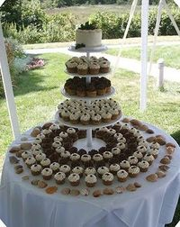 wedding cake cupcakes- top layer is a cake for bride and groom