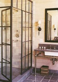 Shower with windowpane glass