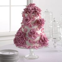 Fondant Cake with Lavender Roses #wedding
