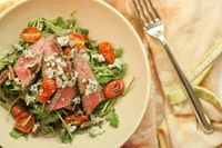 Grilled Flank Steak Salad with Roasted Tomatoes & Blue Cheese