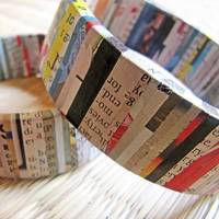 Recycled jewelry - Recycled newspaper bracelet - Eco friendly jewelry - Autumn, Fall - Colorful, Black, White, Red, Yellow, Blue, Stripe from etsy.com