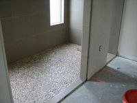 Master Shower Pebble Tile Floor