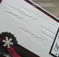 "In and Out Embossing - embossed the cardstock twice using two different embossing folders. The orientation of the two embossed designs is reversed. The ""Snowflakes"" pattern shows the ""positive"" or ""out&amp..."