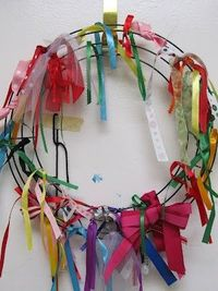 How to teach kindness? Start with an empty wreath.. have family send in odd and ends of ribbons.. when you oberve your students caught in the act of kindess, add a ribbon to the wreath! Let them choose the color and help them tie it.. as the year progress...