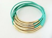 Mint Leather Bangle Bracelets with Silver or Gold by Leatherwraps <3