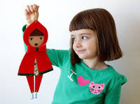 Small red riding hood Wall-Doll - christmas decor - free shipping from etsy.com