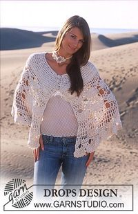 DROPS Nostalgic poncho crochet in Alpaca and Cotton Viscose and crochet necklace and bracelet