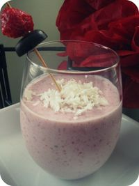 strawberry coconut smoothie. Yum!