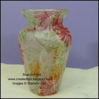 DIY for the home... tissue stamped decoupage vase, free tutorial