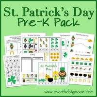 St. Patrick's Day Pre-K Pack from Over the Big Moon! 30+ pages of St. Patrick's Day learning fun for your Pre-K and K aged kid(s)!