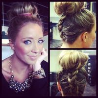 Reverse French Braid Top Knot so sweet