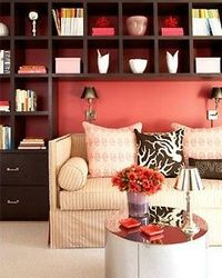 bookshelves and accent color behind love seat