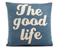 """THE GOOD LIFE 16"""" x 16"""" Recycled Felt Applique Pillow Denim Oatmeal from etsy.com"""