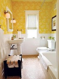 Yellow bathroom with wallpaper?