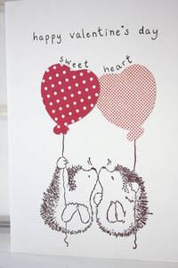 Kisses and Heart Balloons Valentines Day Card