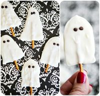Ghost pops...melties and pretzel with chocolate chip eyes