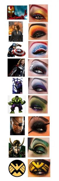 The Avengers represented by makeup! LOVE!