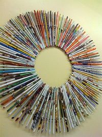 rolled magazine paper wreath