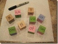 Word Block Phonics...first letter of the words, don't keep natural, then paint blocks and put the word endings on them. Fun!