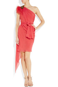 One-shoulder silk-chiffon dress