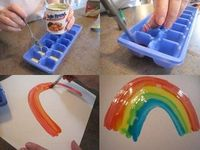 condensed milk + food coloring = cool toddler paint!!!!