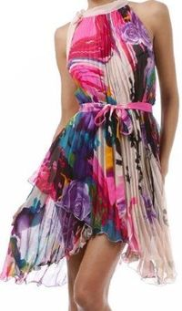 Asymmetrical Hem Pleated Short Sleeveless Dress with Rose Design ( Choose Pink or Black ): Clothing