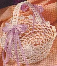 a crochet easter basket. needs a cool whip container and fabric stiffener.