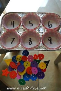 Counting with muffin tin cups...